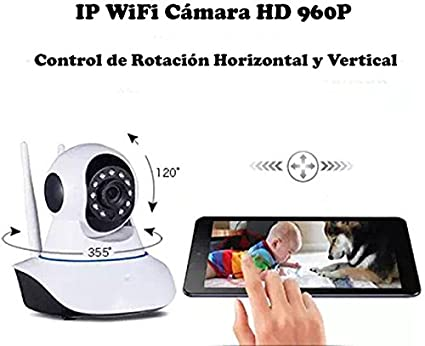 [Doble Antena] HD 960P P2P IP WiFi Cámara Video Vigilancia Nocturna de 1.3Mp