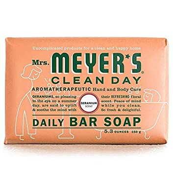 Mrs Meyers Bar Soap Geranium 5.3 Ounce 156ml 6 Pack