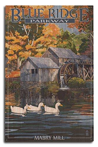 Lantern Press Blue Ridge Parkway, Virginia - Mabry Mill (10x15 Wood Wall Sign, Wall Decor Ready to -