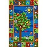 Kid Carpet Forest Rug with Animal Alphabet, 6' x 8'6''