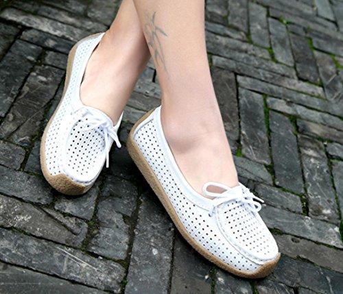 Loafer Flats Schoenen Dames, Casual Ademende Gaten Lederen Werkpompen 4 Kleuren Maat 5.5-8.5 Wit