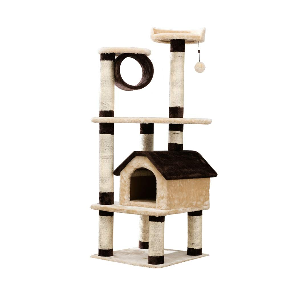 TT Large Luxury Cat Tree,Beige + Brown Cat's Nest Cat Tower,2 Jump Platform Cats Climbing Toys,51×51×138cm One Size Cat Furniture