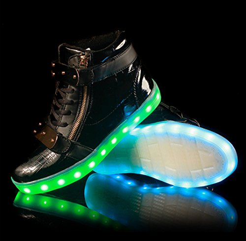 UNN LED Light Up Shoes For  Men & Women High Top USB Charging Big Size Flashing Sneakers Black 3nXDl