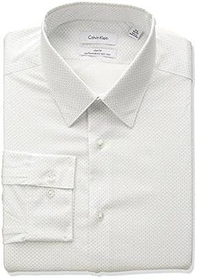 Calvin Klein Men's Non Iron Stretch Slim Fit Square Print Dress Shirt
