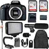 Canon EOS Rebel T7i DSLR Camera (Body Only) + 120 LED Video Light + Large Monopod + 128GB Memory + Shotgun Microphone + Camera & Flash Grip Handle Stabilizer