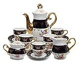 Royalty Porcelain 17pc Flower-Patterned Dark Blue Tea Set, 24K Gold-Plated Original Cobalt Tableware, Service for 6