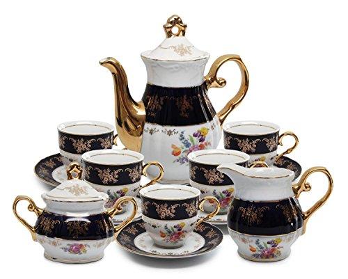 - Royalty Porcelain 17pc Flower-Patterned Dark Blue Tea Set, 24K Gold-Plated Original Cobalt Tableware, Service for 6