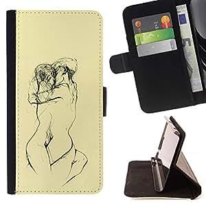 Momo Phone Case / Flip Funda de Cuero Case Cover - Amarillas Lovers Sketch Lápiz Desnudo - Samsung Galaxy E5 E500