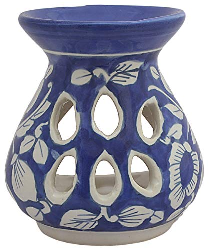 ETROVES 4 Inch Oil Warmer/Essential Oil Diffuser/Oil Burner/Tealight Holder for Home Fragrance & Aromatherapy – Blue Handmade Decorative Ceramic Votive Tea Light Lantern (Blue)