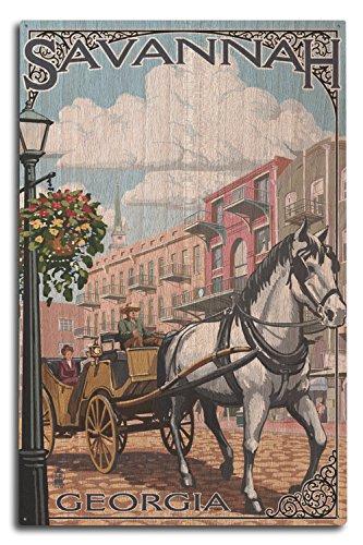 Savannah Wood (Savannah, Georgia - Horse and Carriage (10x15 Wood Wall Sign, Wall Decor Ready to Hang))