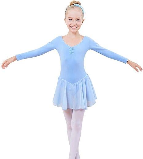 Baywell Maillot Ballet Niña Rosa Manga Larga con Falda Traje de ...