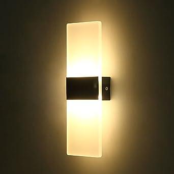 12W LED Acryl Wandleuchte Warmweiß Wandlampe Modern Design Nachttischlampe  Home Corner Dekorative Beleuchtung Ideal Für Schlafzimmer