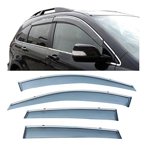 Honda Fit Vent Visor (CUSTOM 4pcs Smoke Tint With Chrome Trim PVC Outside Mount Tape On/Clip On Style PVC Sun Rain Guard Vent Shade Window Visors Fit 07-11 Honda CRV CR-V)