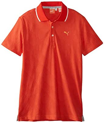 Puma Golf Men's Jacquard Polo, Vibrant Orange-Fiery, Medium