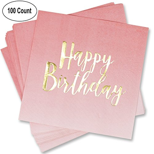 100 Count Happy Birthday Napkins 3 Ply Pink Ombre Luncheon Napkin with Metallic Gold Foil for Dinner Celebration Party Favor Supplies Decorations by Gift (Celebration Luncheon Napkins)