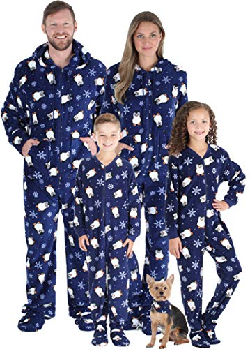 SleepytimePJs Matching Family Christmas Pajama Sets, Blue Penguin Onesie, Kids - (STM17-3019-K-8)