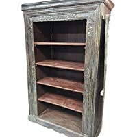 Mogulinterior Antique Indian Bookcase Hand Carved Book Shelf Furniture