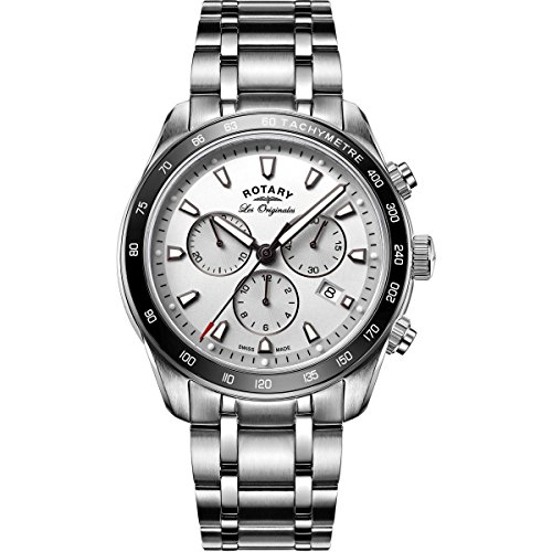 Rotary Legacy Men's Quartz Watch with Silver Dial Chronograph Display and Silver Stainless Steel Bracelet GB90169/02