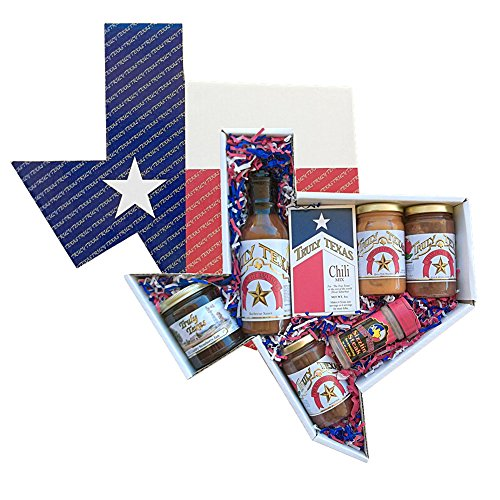 Gourmet Sampler Salsa (Truly Texas Big Tex Jelly, Barbecue, and Salsa Gift Set in State Shaped Box)