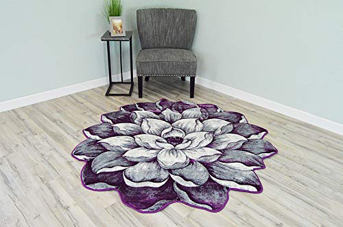 (Flowers 3D Effect Hand Carved Thick Artistic Floral Flower Rose Botanical Shape Area Rug Design 301 Purple 5'3''x5'3'' Round)