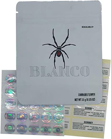 25 pack BLANCO COOKIES sf  Mylar Resealable 3.5g Packaging EMPTY BAGS