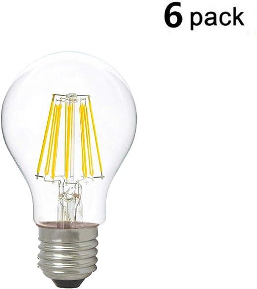 ALBN - Pack de 6 Bombillas de filamento LED E27 A60 de 8 W, Equivalente a 80 W, luz Blanca cálida (4000 K), Cristal, lámpara rústica de Estilo filamento Transparente, no Regulable: Amazon.es: Hogar