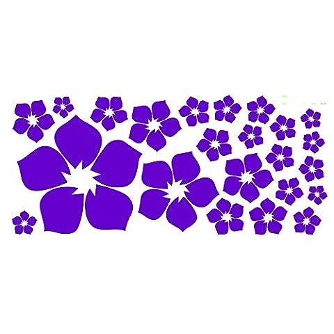 ufengke® 23-Piece Small Flowers DIY Wall Decals, Living Room Bedroom Removable Wall Stickers Murals, Dark (Dark Purple Wallpaper)