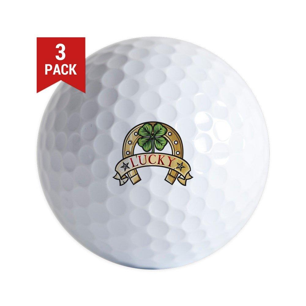 Golf Balls ( Set of 3 ) Lucky Horseshoe with 4つ葉のクローバー B06XQJ2Y8C
