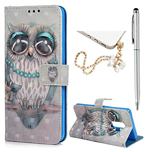 Galaxy S9 Plus, Wallet Case with Hand Strap Card Slots & Kickstand Premium PU Leather Shell Folio Flip Cover Flexible TPU Shockproof Interior for SamsungGalaxy S9 Plus by GEMYON, Night Owl