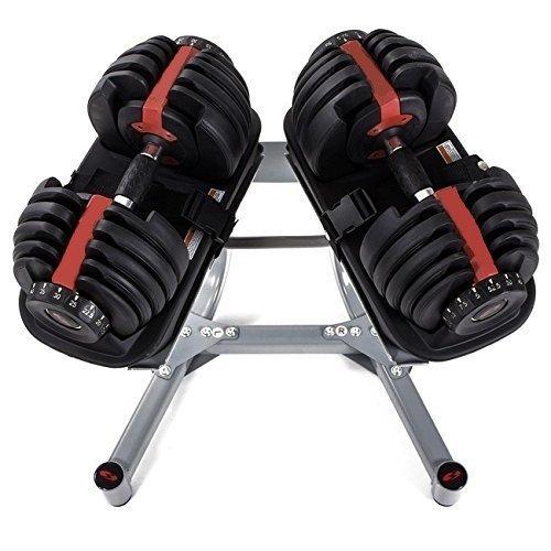 CDW Juego de mancuernas tipo Bowflex ajustables 24kgs con soporte: Amazon.es: Deportes y aire libre
