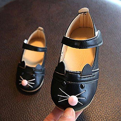 Baby schuhe, Sunnyoyo Nette 0-4 Jahre alt Kinderbaby-Mädchen-hübsche Prinzessin Cat Dance Nubukleder-einzelne Schuhe Schwarz