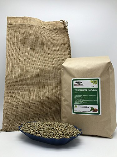 Yirgacheffe Green Coffee - 10 Pounds - African - Ethiopian Natural - Unroasted Green Coffee Beans - Grown In Region Yirgacheffe - Altitude 1770-2200 Meters - Ethiopian Heirloom - Drying/Milling Is Natural