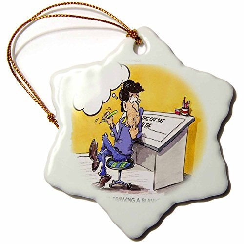 Christmas Ornament Londons Times Funny Music Cartoons - Drawing A Blank - Snowflake Porcelain Ornament -