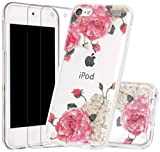 BLLQ for iPod Touch 6 Case, Touch6 Case for Girls, Bling Glitter Twinkle Sparkle Flower Rose Design Clear Soft TPU Protective Cover Case for iPod Touch 6th/ 5th Generation, Shiny Rose