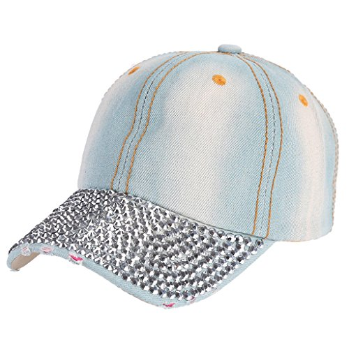 Doober Fashion Rhinestones Studded Baseball Caps Adjustable Visor Denim Tennis Hats (#1)