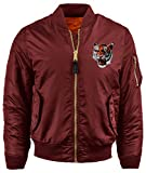 BN Mens Patch Bomber Jackets Reversible MA-1 Flight (Medium,bur.Tiger)
