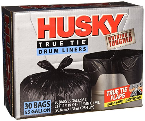 Husky HKK55030B True Tie 55-Gallon Drum Liners, 30-Count