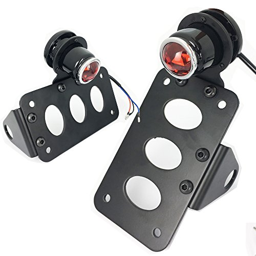Black LED Vertical Side Mount License Plate Bracket Brake Running Rear Tail (Mounted License Plate Bracket)