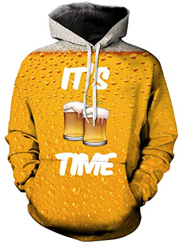 oodies Shirt Yellow Orange White Beer with Grey Bubbles Serried Dot Novelty Athletic Outwear Sport Pullover Cool Big and Tall Sweatshirt for Big Boys Girls Youth Adult Men Women ()