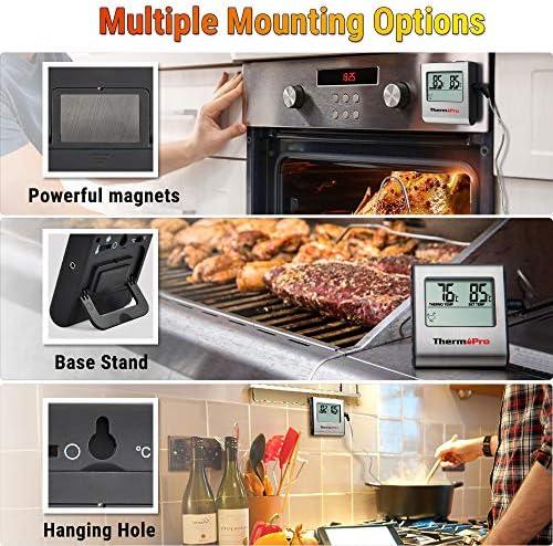 ThermoPro TP16 Thermomètre de Cuisson pour Viande Numérique avec Large Écran LCD pour Fumoir Four Cuisine Friandises Barbecue Grill Thermomètre avec Minuteur et Sonde de Températures en Acier Inoxydable