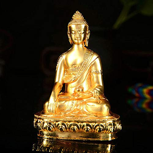 RXIN Bright Gold Plated Buddha Statue Tibetan Buddhist Hand Carved Alloy Shakyamuni Sculpture Bless Home Decoration