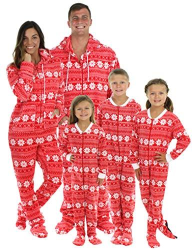 SleepytimePjs Family Matching Red Snowflake Onesie PJs Footed Pajamas Kid's Red Snowflake – (STM17-2010-K-6) ()