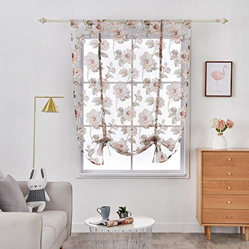 WUBODTI White Sheer Kitchen Valance Window Curtains Floral Voile Tie Up Shades Window Treatments Balloon Drapes and Curtains for Small Bedroom Nursery Living Room Windows 63 Inch Length, Peony (Sheer Curtain Print Panels)