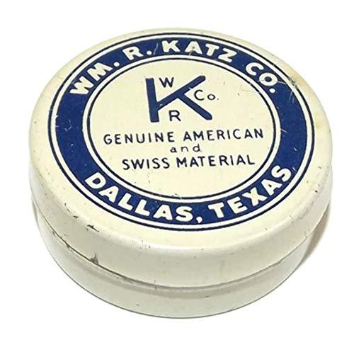 Vintage Wm. R. Katz Co. Kaco Watchmaker Round Parts Tin Advertising Box - Dallas, TX