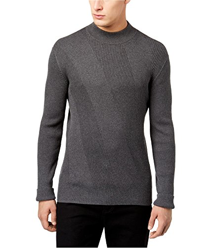 (Alfani Men's Mixed Rib-Knit Mock-Neck Sweater Charcoal Heather Large)