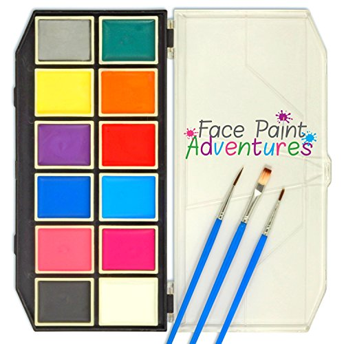 FACE PAINT | Full face & body paint set: 3 brushes, 30 stencils, 12 colors in strong palette tray | Water activated, non toxic, hypoallergenic | Children / adults / professional supplies ()