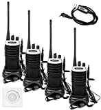 Retevis RT7 UHF 2-Way Radio 16 CH FM Radio with Headset (Silver Black Border, 4 Pack) and Programming Cable