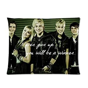 "Famous Movie Star & Music Singer Band Series Custom Soft Pillow Case Cover 20X26 (One Side) - R5 Loud Ross Lynch Family Riker Ross Ryland Rocky Rydel Pattern Green Stripes Inspirational Quote ""Never Give Up You'Ll Be A Winner "" Fashion Perso"