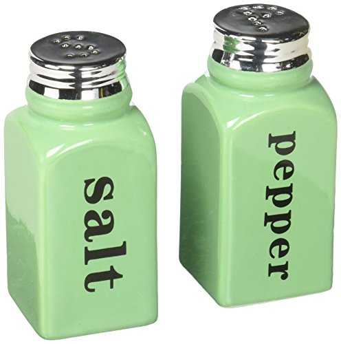(Mint Green Salt & Pepper Shaker Set - Celadon Ceramic - Hand Painted - Cute Gift Idea Wedding Kitchen)