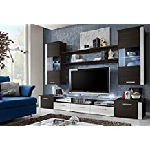 FRESH Modern Wall Unit / Entertainment Centre / Spacious and Elegant Furniture / Tv Cabinets / Tv Stand for Modern Living Room / High Capacity Living Room Furniture (Wengue)